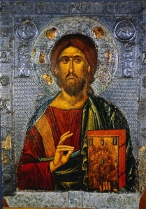 Icon Painting of Jesus Christ as Pantocrator