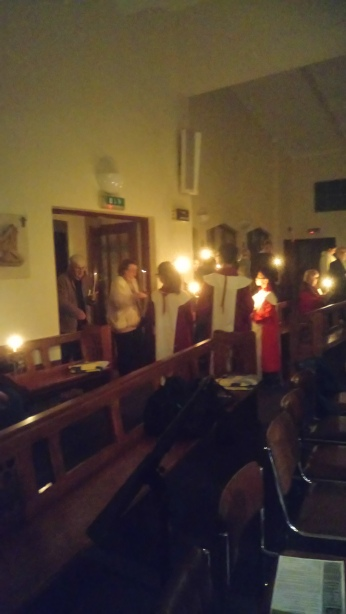 The Easter candle is taken into church at Easter, 2018.