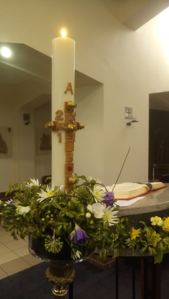 The Easter candle symbolises the resurrection of Christ.